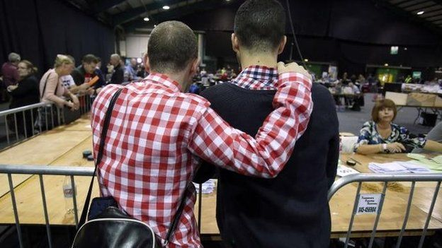 Couple watches counting of same-sex marriage referendum votes