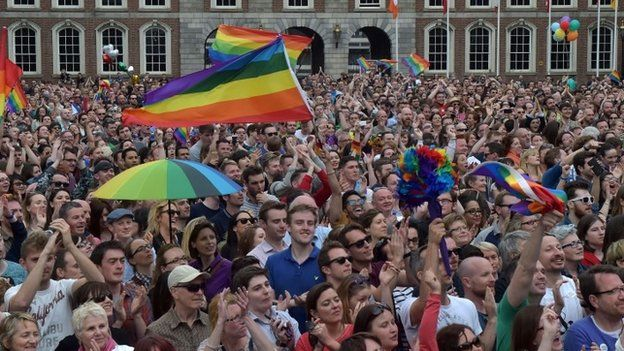 Thousands of people celebrate in Dublin Castle Square as the result of the referendum is relayed on 23 May