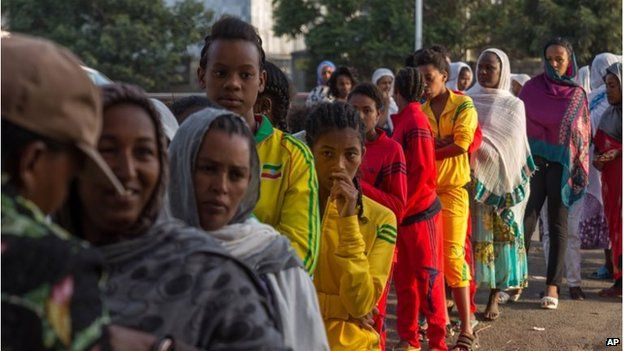 Voters queue early in the morning to cast their votes in Addis Ababa.