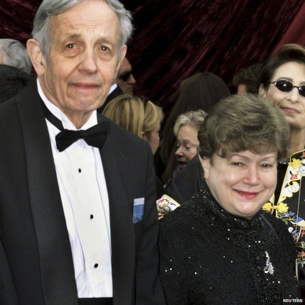 Nobel Prize winning mathematician John Forbes Nash and his wife Alicia arrive at the 74th annual Academy Awards in Hollywood, California, in this file photo taken March 24, 2002
