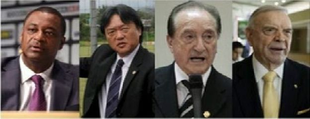 Fifa officials from left: Jeffrey Webb, Eduardo Li, Eugenio Figueredo, Jose Maria Marin