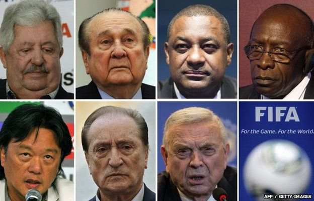 A combination of file pictures shows Fifa officials (LtoR, from upper row) Rafael Esquivel, Nicolas Leoz, Jeffrey Webb, Jack Warner, Eduardo Li, Eugenio Figueredo and Jose Maria Marin, 27 May 2015