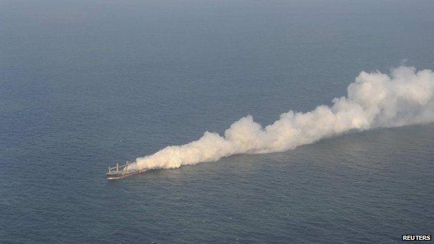 Havariekommando handout of Purple Beach on fire