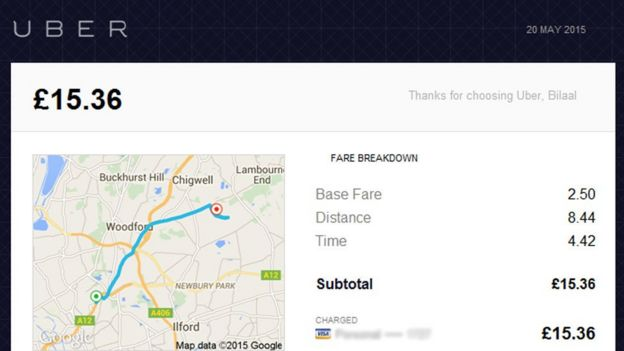 Uber fare page