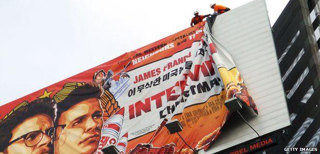 The Interview banner being taken down