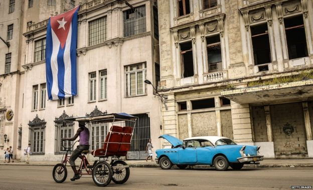 Man on bike in Cuba