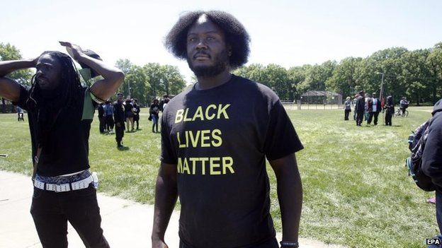 A man participates in a demonstration in Cleveland, Ohio, on 23 May 2015