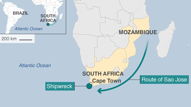 map showing route of ship