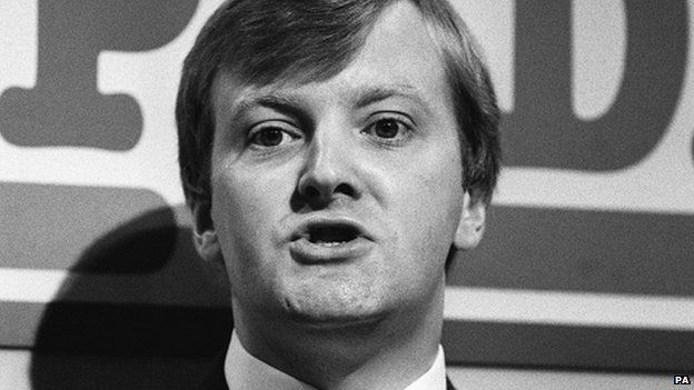 Charles Kennedy in 1987 speaking at the Social Democratic Party conference in Portsmouth