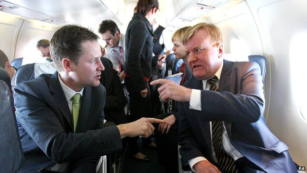 Nick Clegg ad Charles Kennedy on a flight during the 2010 election campaign
