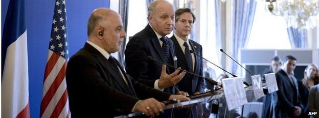 Haider al-Abadi (left), Laurent Fabius (centre) and Tony Blinken in Paris 02/06/15