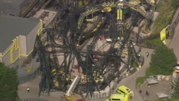Aerial view of Smiler ride