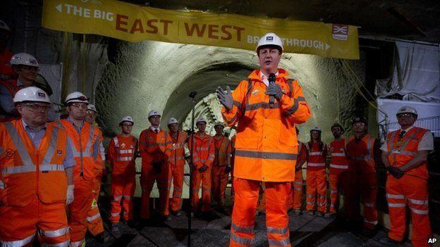 Prime Minister David Cameron at Crossrail Farringdon station
