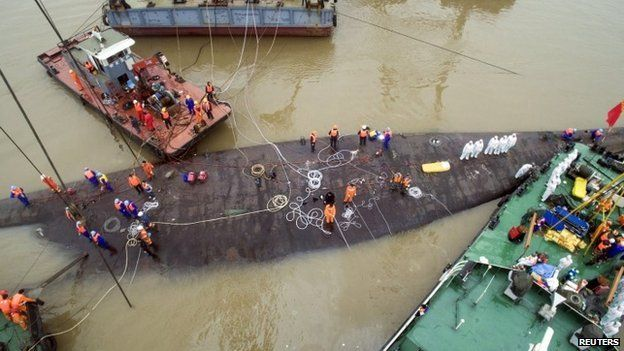 An aerial view shows rescue workers standing on the sunken cruise ship Eastern Star in Jianli, Hubei province, China, June 4, 2015.