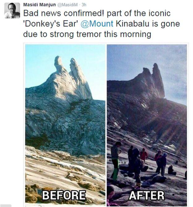 Malaysia quake traps 160 climbers on Mount Kinabalu  _83434244_mtkinabalutweet