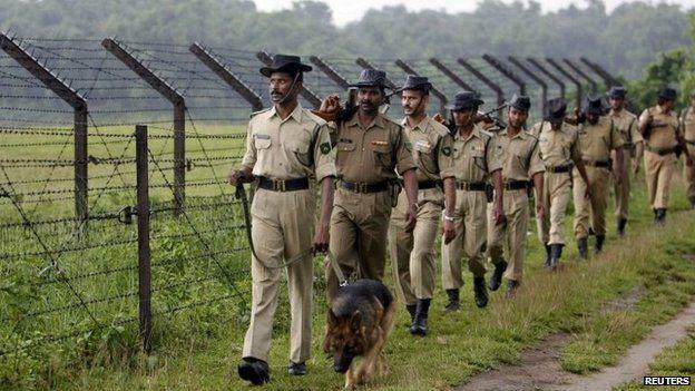 Indian border security force patrols near Siliguri on Bangladesh border - 28 May