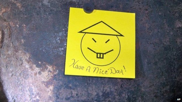 The note left by the two escapees who used power tools to cut through steel pipes at the maximum-security prison in Dannemora (06 June 2015)