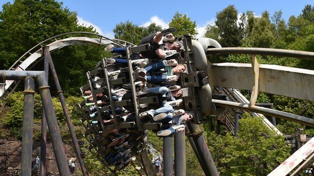 (Left to right) Matt Bennett, Erik Votjas, Lucia Pajtasova and Dan Bennett, from Cheltenham, ride Nemesis at Alton Towers in Staffordshire,