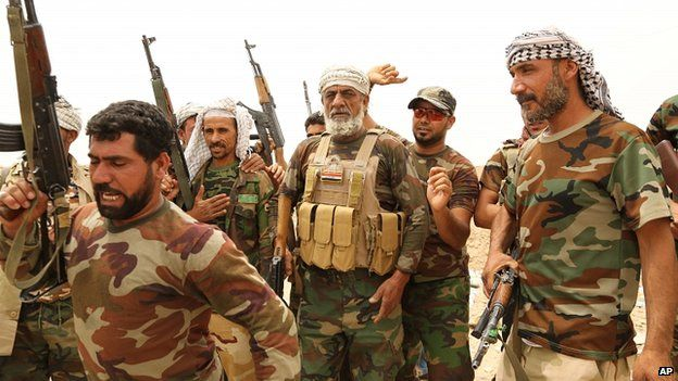 Fighters of Badr Brigades Shia militia on the outskirts of Fallujah, Anbar province, Iraq. 1 June 2015