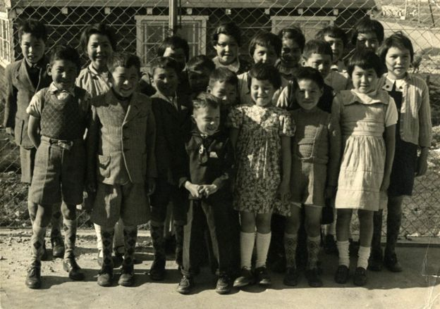 The children gathered together in Greenland. Helene Thiesen is on the far right of this picture, taken in Greenland