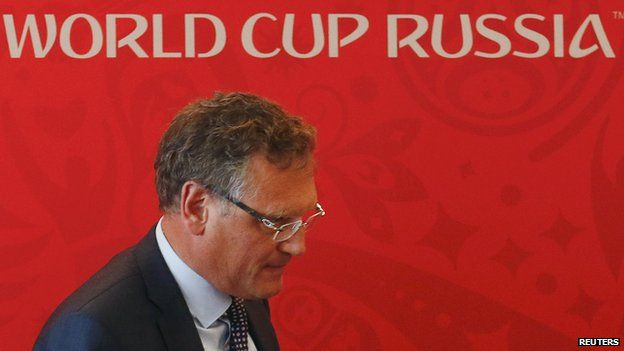 FIFA Secretary General Jerome Valcke walks away after attending a news conference in the southern city of Samara, Russia on 10 June