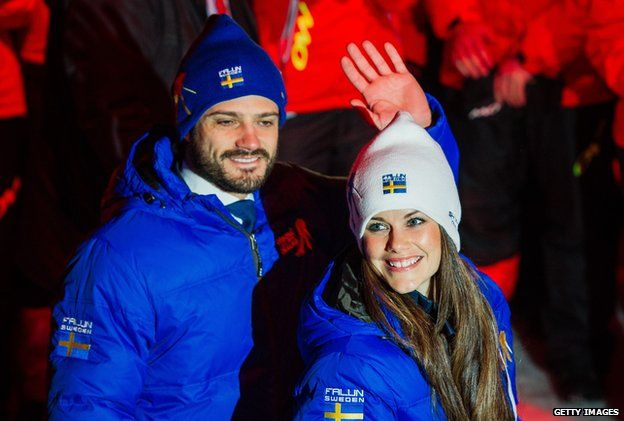 Prince Carl Philip of Sweden and Sofia Hellqvist attend the Opening Ceremony of the FIS Nordic World Ski Championships at the Lugnet venue in February 2015 in Falun, Sweden