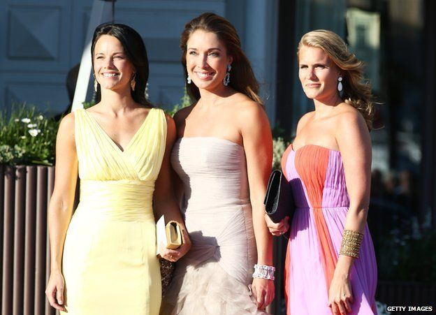 Sofia Hellqvist (left) and Louise Gottlieb (centre) arrive at a private dinner on the eve of the wedding of Princess Madeleine and Christopher O'Neill hosted by King Carl XVI Gustaf and Queen Silvia at The Grand Hotel on 7 June 2013 in Stockholm, Sweden.