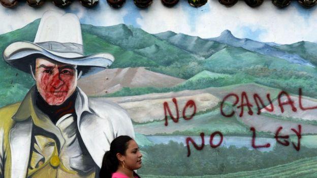 Protesta por la construcción de un canal en Nicaragua.