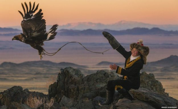 Ashol-Pan is the first female apprentice eagle hunter,