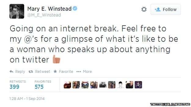 "Tweet from @M_E_Winstead reading: ""Going on an internet break. Feel free to my @'s for a glimpse of what it's like to be a woman who speaks up about anything on twitter."""