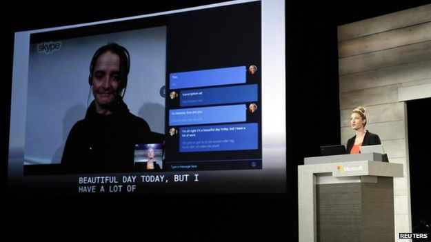 Demonstration of Skype translate at a conference by Microsoft