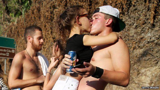 Kissing in Brazil