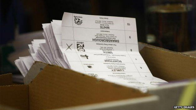 Ballot papers piled up during the 2010 General Election Count at Redditch Town Hall