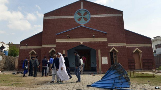 Exterior of church targeted in Lahore
