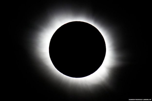 The total solar eclipse seen from Svalbard, Norway. The Faroe Islands and Svalbard in the Arctic Circle were the only places to experience a total eclipse.