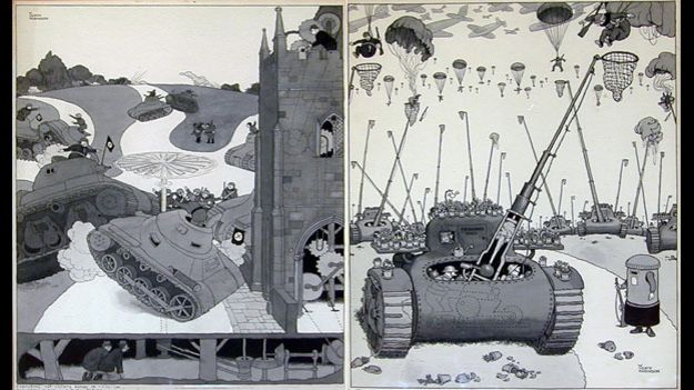 Two cartoons by William Heath Robinson