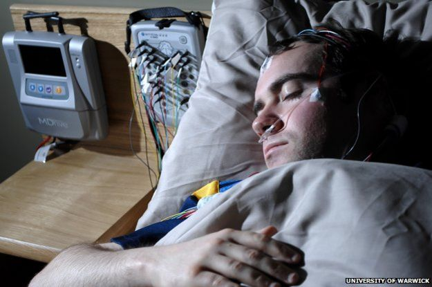 Man taking part in a sleep study