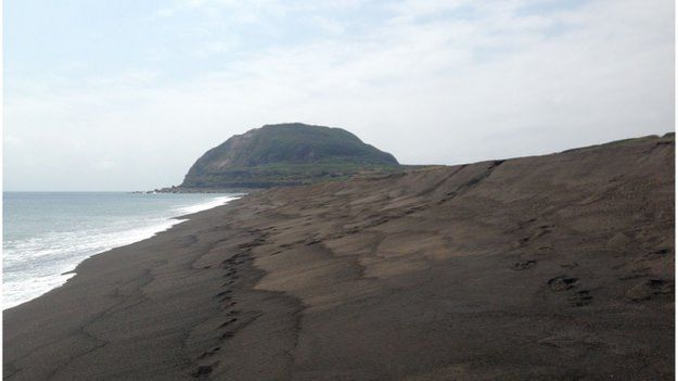 Mount Suribachi from Invasion Beach