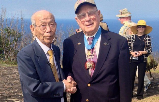 "Tsuruji Akikusa and Hershel ""Woody"" Williams at Iwo Jima"