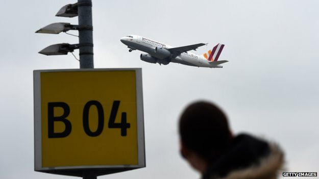 Germanwings plane takes off from Dusseldorf airport, 25 March 2015