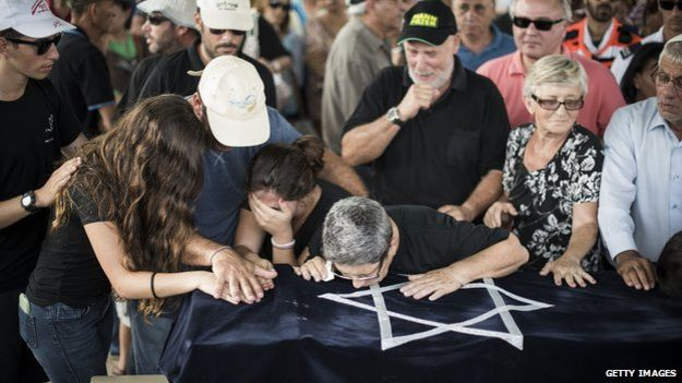 Relatives mourn four-year-old Daniel Tregerman at his funeral in Israel