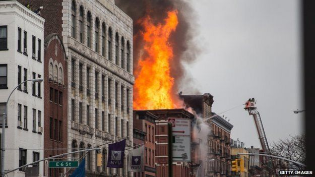 Building fire in New York City