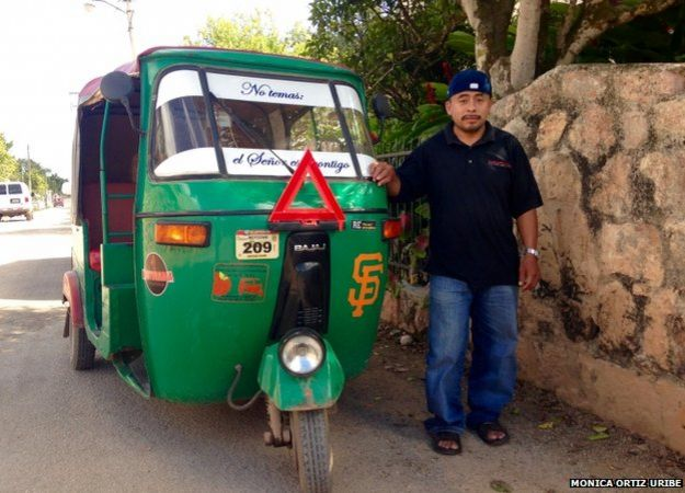 A motorcycle taxi driver in the city of Oxkutzcab, in Mexico's Yucatán Peninsula, shows off his love for the city of San Francisco, where nearly one third of the local population immigrates illegally in search of work.