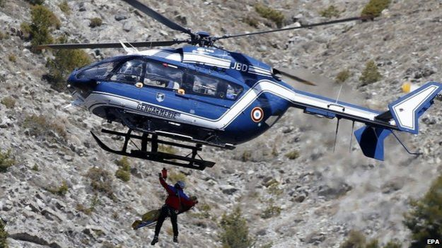 French Gendarmes fly over Germanwings crash site, 26 March 2015