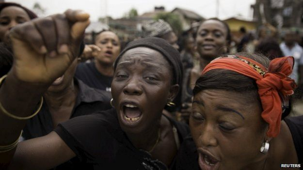Women from communities in Rivers state protest against irregularities in voting in the weekend's election, at Port Harcourt March 30, 2015