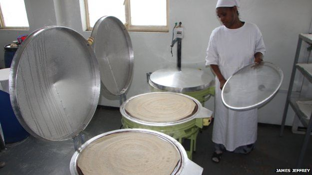 Injera being made at Mama Fresh