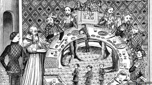 Illustration of King Arthur and Merlin