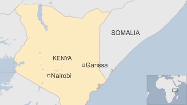 Map showing Garissa in Kenya