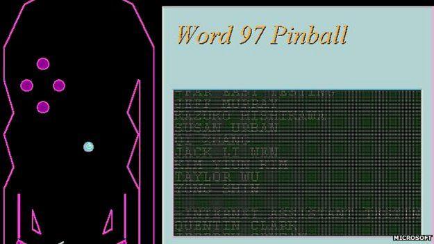 Pinball hidden in Word 97 screenshot
