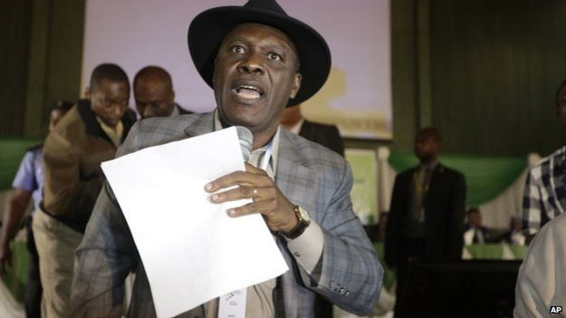 "Godsday Orubebe, People""s Democratic Party agent, disrupts the announcing of election results accusing the Commission chairman Attahiru Jega, of being bias in Abuja"